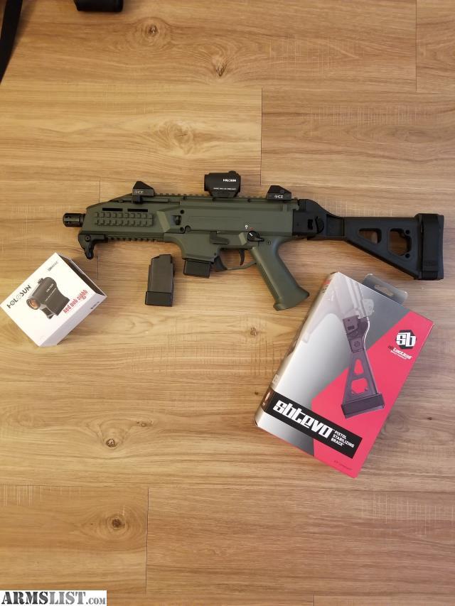 scorpion cz pistol evo s1 holosun optic od evo3 sight dot brace armslist magazines includes round
