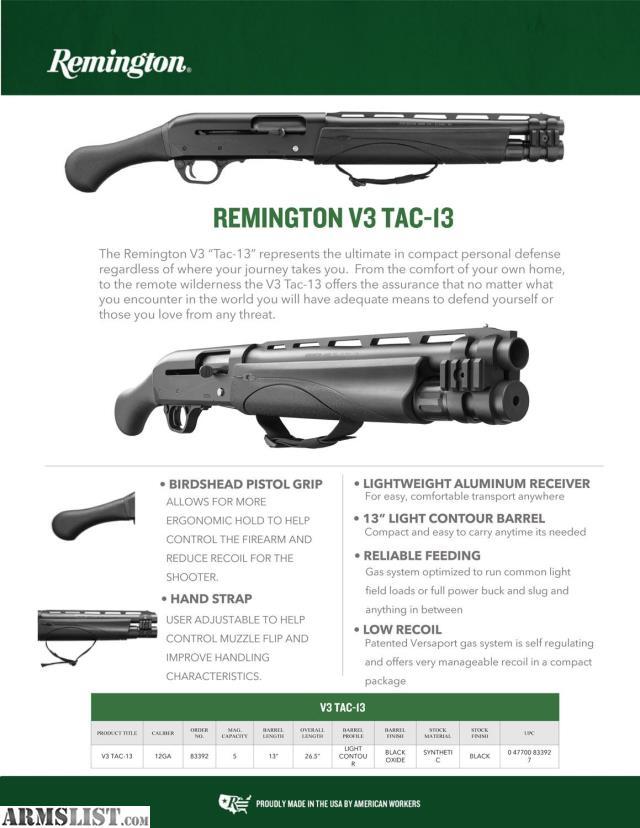 ARMSLIST - For Sale: NEW Remington V3 TAC13 semi auto 12ga