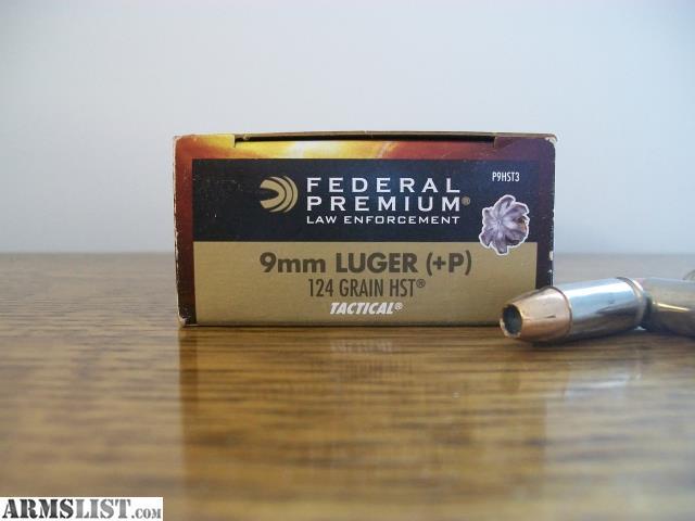 ARMSLIST - For Sale: Federal 9mm +p 124gr HST