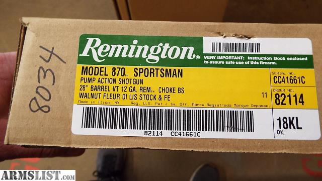 ARMSLIST - For Sale: #8034 Remington 870 SPORTMAN 12G 28