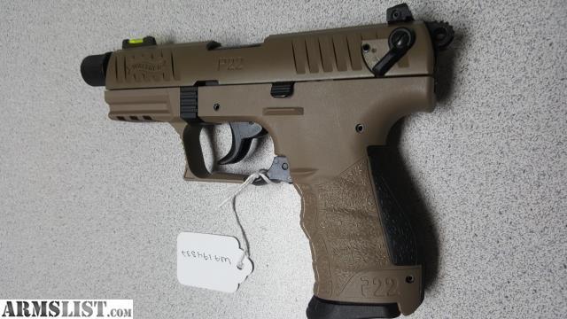ARMSLIST - For Sale: Walther P22QD 22LR TB FDE 10RD NIB