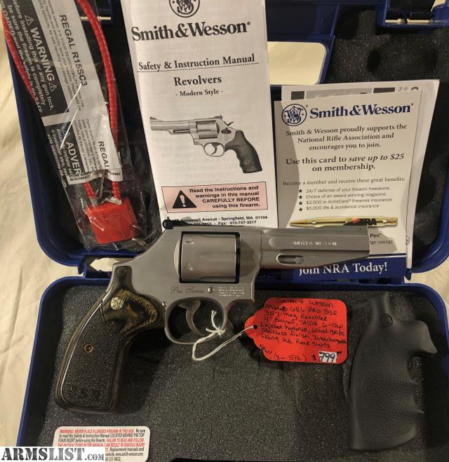 Brand New Firearm In The Box Smith And Wesson 686 Pro SSR 357mag 4 Barrel 6rd Capacity Wood Rubber Grips Stainless Finish Interchangeable Front