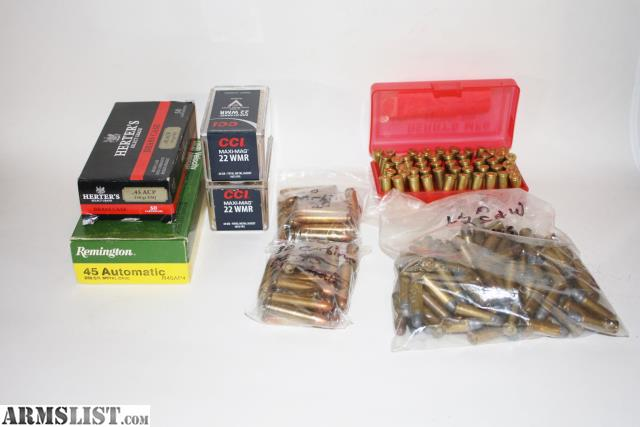 ARMSLIST - For Sale: Ammo 32 s&w long 30 carbine 22 mag 45 acp
