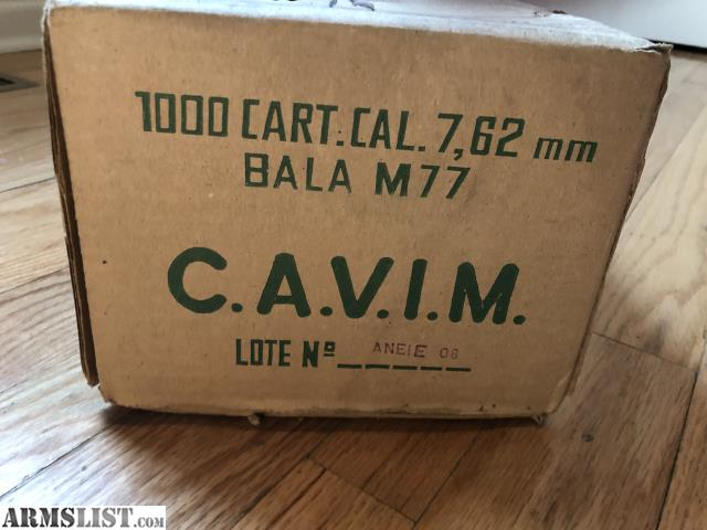 ARMSLIST - For Sale: 1000 rounds CAVIM surplus 7 62/308 sealed in box