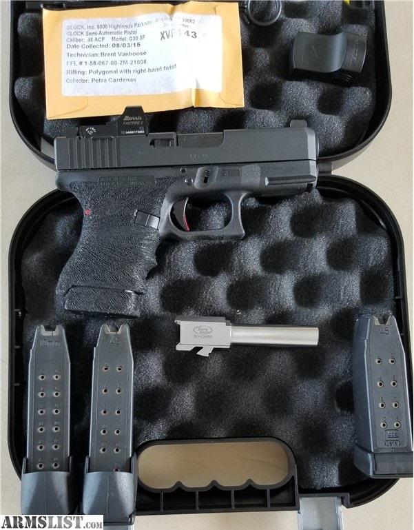 ARMSLIST - For Sale: GLOCK 30SF, 45acp/10mm, Zev Trigger, Burris