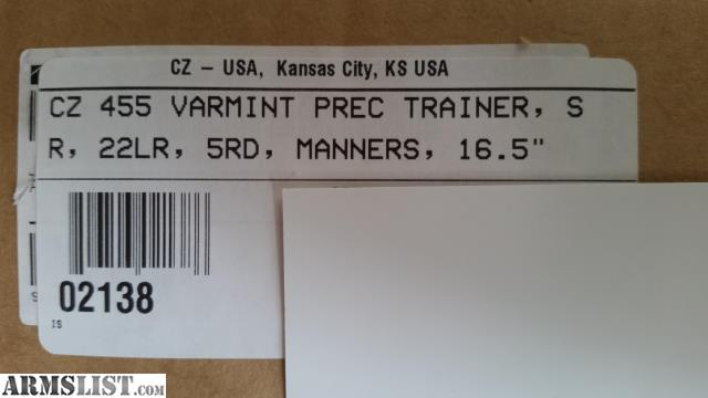ARMSLIST - For Sale: CZ 455 Varmint Precision Trainer 02138