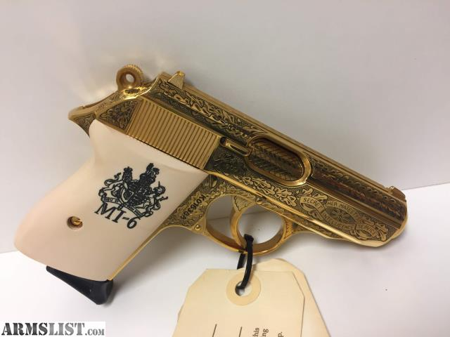 ARMSLIST - For Sale: Walther PPK  380 Gold Plated MI-6