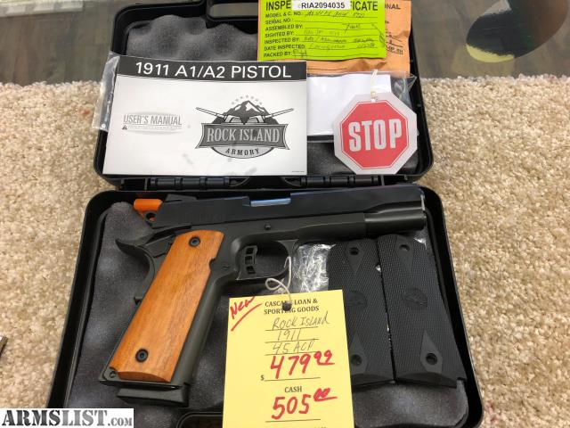 ARMSLIST - For Sale: NEW ROCK ISLAND ARMORY 1911 45 ACP IN HARD CASE