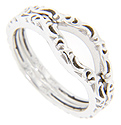 These 14K white gold curved wedding bands feature a flowing polished design worked in relief