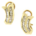 .91 carats total weight of baguette diamonds is set in these 14K yellow gold estate earrings