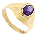 An oval amethyst is set in this retro-modern 18K yellow gold estate ring
