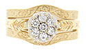 These 14K yellow gold curved wedding bands feature a detailed floral motif
