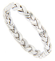 Made of 14K white gold this mens hand made modern wedding band has an open braided pattern
