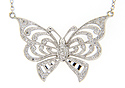 "A diamond studded butterfly rests at the bottom of this 19"" 14K white gold antique style necklace"