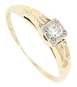 A .25 carat G color, Si1 clarity diamond is surrounded by white gold on the square head of this 14K yellow gold antique engagement ring