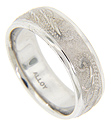 A Florentine finish covers the center of this 14K white gold antique style men's wedding band