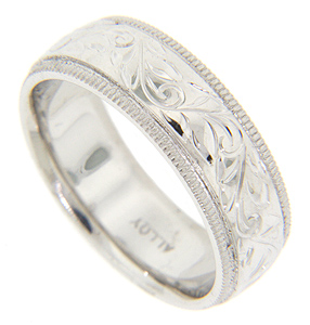 14k Gold Engraved Mens Wedding Band Marlene Harris Collection