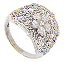A single five-petaled flower graces the top of this 14K white gold antique style wedding band
