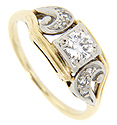 A glittering .35 carat center diamond is set in this 14K yellow gold antique engagement ring