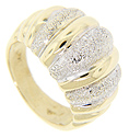Bands of textured white gold alternate with polished yellow gold ridges on this 14K gold estate ring