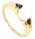 A trillium cut blue sapphire is set on each shoulder of this 14K yellow gold engagement ring jacket