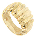 Vertical ridges cover the top half of this 14K yellow gold modern wedding band
