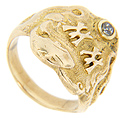 "This art nouveau 10K yellow gold men's estate ring is set with a diamond the initials ""MM"" on top"