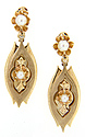 Pearls are set in these lovely 14K yellow gold antique earrings