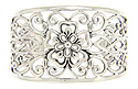 Curving floral filigree ornaments this sterling silver antique style bangle bracelet