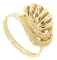 Looping strands of gold, both textured and smoothly polished, provide the ornamentation on the top of this 14K yellow gold vintage ring