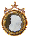 Antique 14K rose gold hard stone cameo pendant