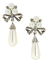Sterling silver, marcasite and faux pearls combine to accent these earrings in the shapes of bows