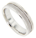 This 14K white gold antique style men's wedding band features an angled, matte finish center with raised ridges flanking