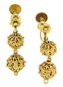 These 18K yellow gold antique earrings are for non-pierced ears