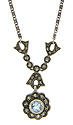 This sterling silver necklace is studded with marcasite