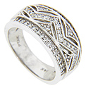 A zig-zagging line ornamented with sparkling diamonds is the primary design on this 14K white gold antique style wedding band