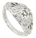 Looping designs and diamonds decorate the top of this 14K white gold modern engagement ring mounting