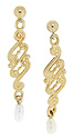 Looping gold designs decorate these 14K yellow gold antique style earrings