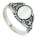 Curving nouveau styling ornaments this sterling silver antique style signet ring