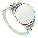 Intertwined bow designs decorate the shoulders of this antique style sterling silver signet ring