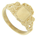 Mermaids adorn the shoulders of this 14K yellow gold signet ring