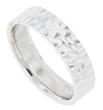 A hammered design spans the circumference of this modern 14K white gold men's wedding band