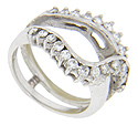 Rows of round diamonds are set in this glittering 14K white gold estate wedding band