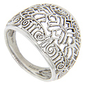 Intricate filigree decorates this 14K white gold antique style wedding band