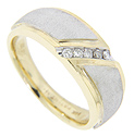 Five diamonds are set in a diagonal line on this antique style 14K yellow gold men's wedding band