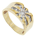 Radiating lines focus on the central diamond on this 10K yellow gold vintage men's ring