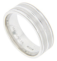Double rows of matte finish gold are flanked and separated by smaller channels of smoothly polished gold on this 14K white gold antique style men's wedding band