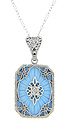 Perfect for a bride or bridesmaid this sterling silver antique style necklace features a pendant with floral filigree and a lovely blue color