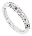 Marquis shapes set with pairs of diamonds grace the top third of this 14K white gold antique style wedding band