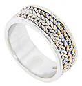 A braided pattern ornaments the center of this 14K white gold antique style wedding band
